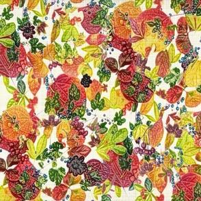 Fall Berries n Leaves on ivory