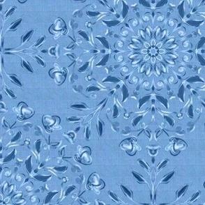 Bohemian  Floral Kaleidoscope Light on Faded Denim Blue