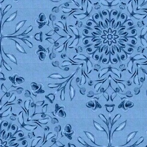 Bohemian Floral Kaleidoscope Dark on Faded Denim Blue