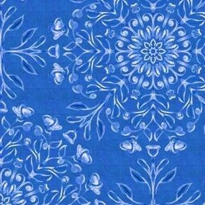 Bohemian  Floral Kaleidoscope Light on Denim Blue