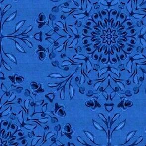 Bohemian  Floral Kaleidoscope Dark on Denim Blue