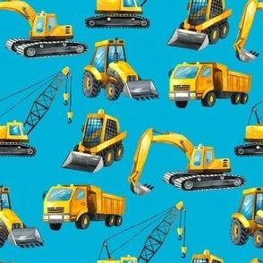 Colorful construction trucks