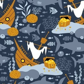 Pirate treasure in the ocean navy