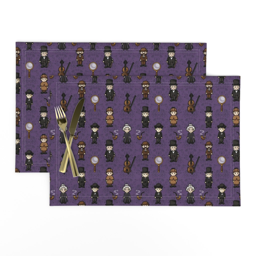 Lamona Cloth Placemats featuring Cutesy Holmes (Purple) by jaana