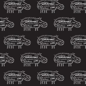Hippo Calligram White on Black