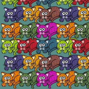 Colorful cartoon cats on turquoise.