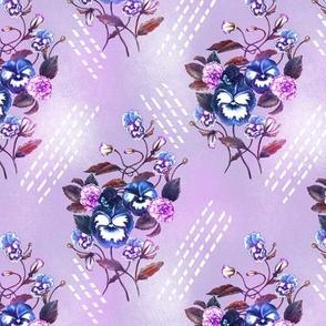 Pansy Retro Floral Blue Lavender