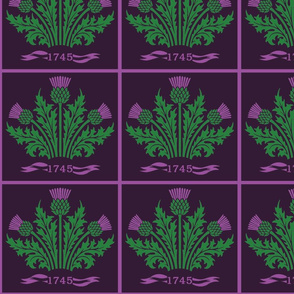 Jacobite Scottish Thistle, dark purple bg