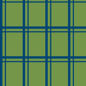 Plaid-Stripes in Blue on Green