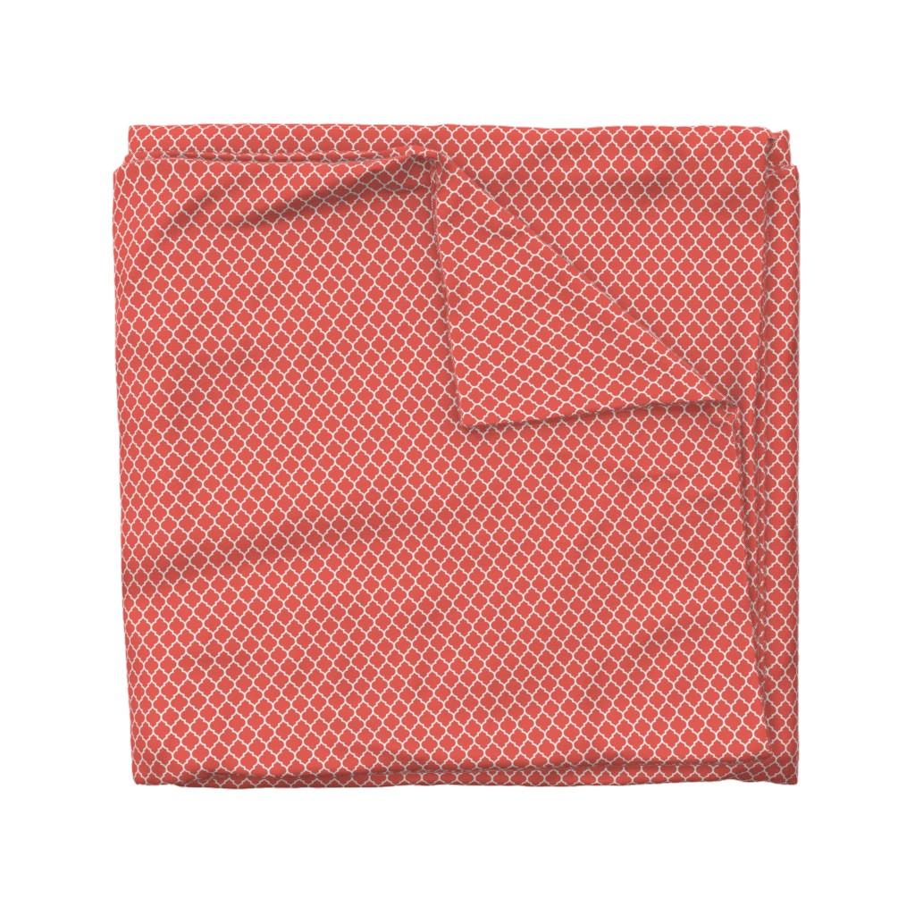 Wyandotte Duvet Cover featuring moroccan quatrefoil lattice in coral by spacefem