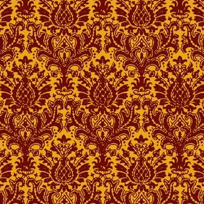 India Damask scarlet and gold