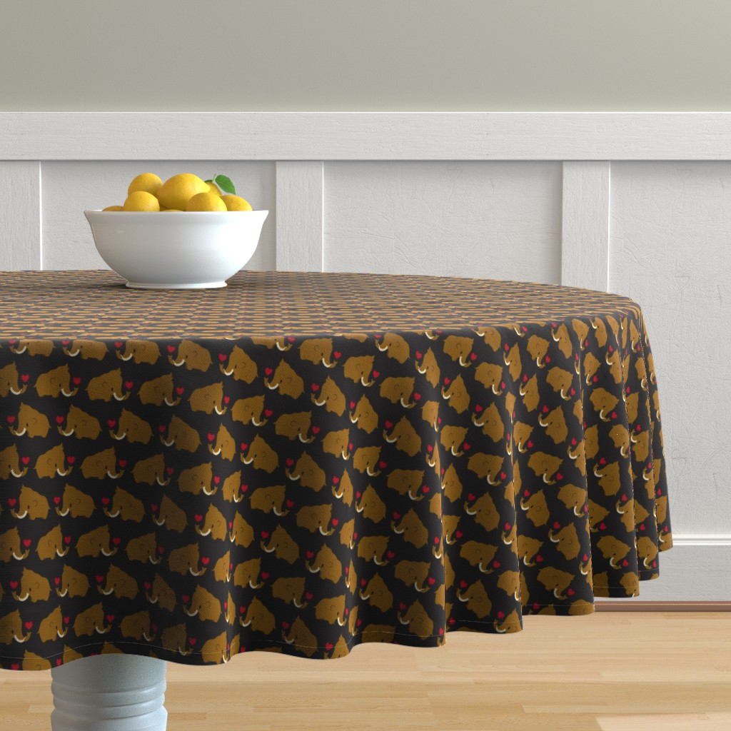 Malay Round Tablecloth featuring Kawaii Mammoths by petitspixels