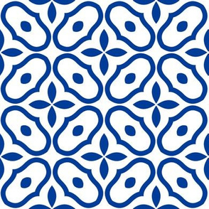 Mosaic - White and Deep Blue