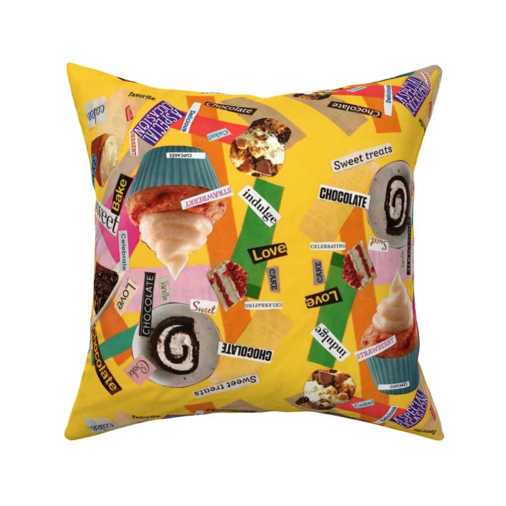 Catalan Throw Pillow featuring CAKE! by four_flowers_designs