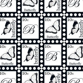 Large Butterfly Stamps on White