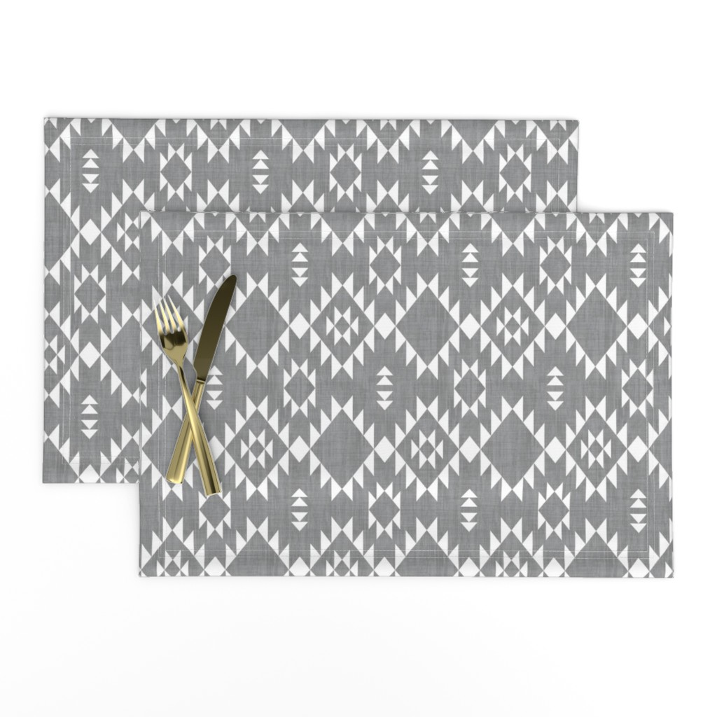 Lamona Cloth Placemats featuring Navajo - Texture Gray White (vertical) by kimsa