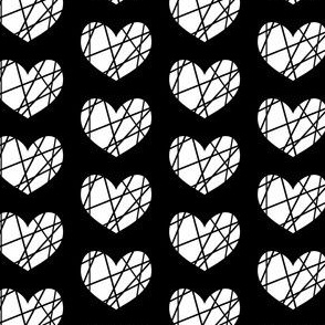 White heart on black abstract