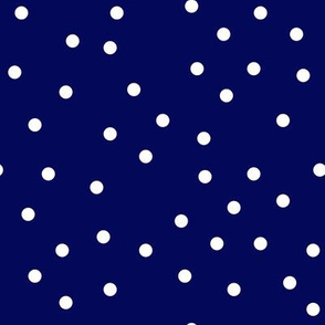 White Polka Dot on Navy Blue