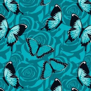 Small Blue Butterflies on Blue