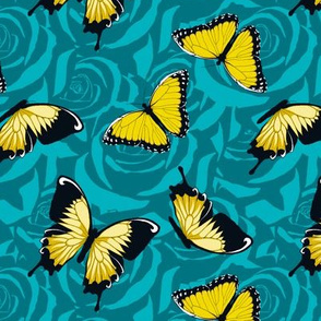 Small Yellow Butterflies on Blue