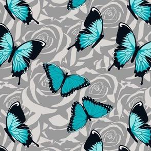 Small Blue Butterflies on Gray