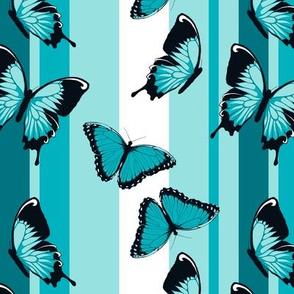 Blue Butterflies on Blue Stripes