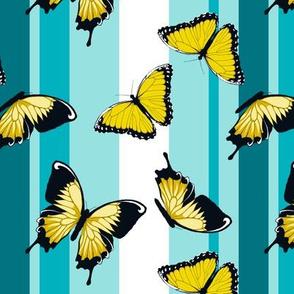 Yellow Butterflies on Blue Stripes