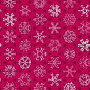 red snowflake mini-ornaments
