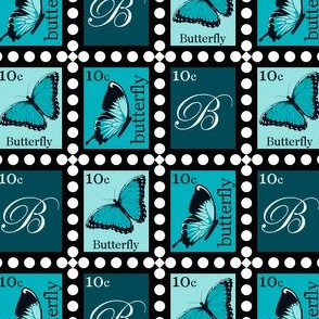 Large Blue Butterfly Stamps