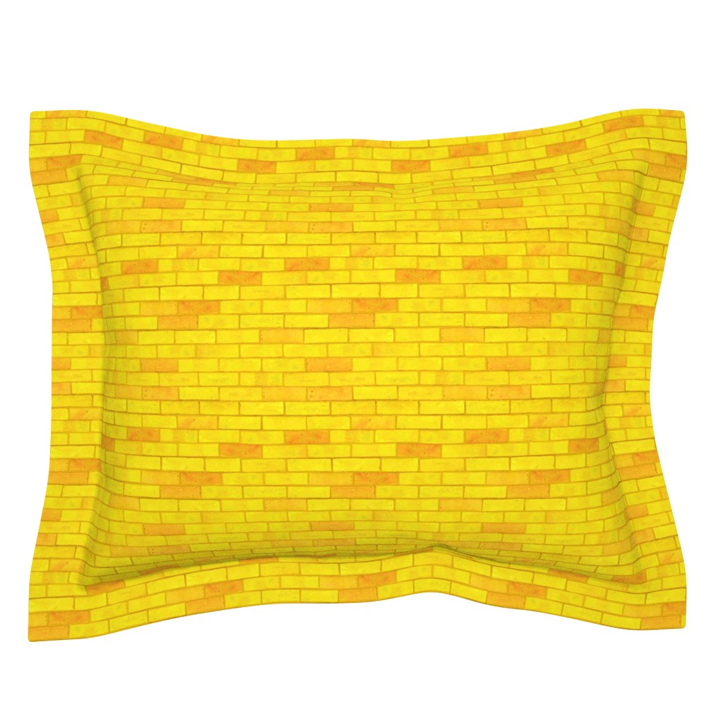 "Sebright Pillow Sham featuring Wizard of Oz - Yellow Brick Road by JoyfulRose (Each brick is about 1.7"" wide x .6"" tall) by joyfulrose"