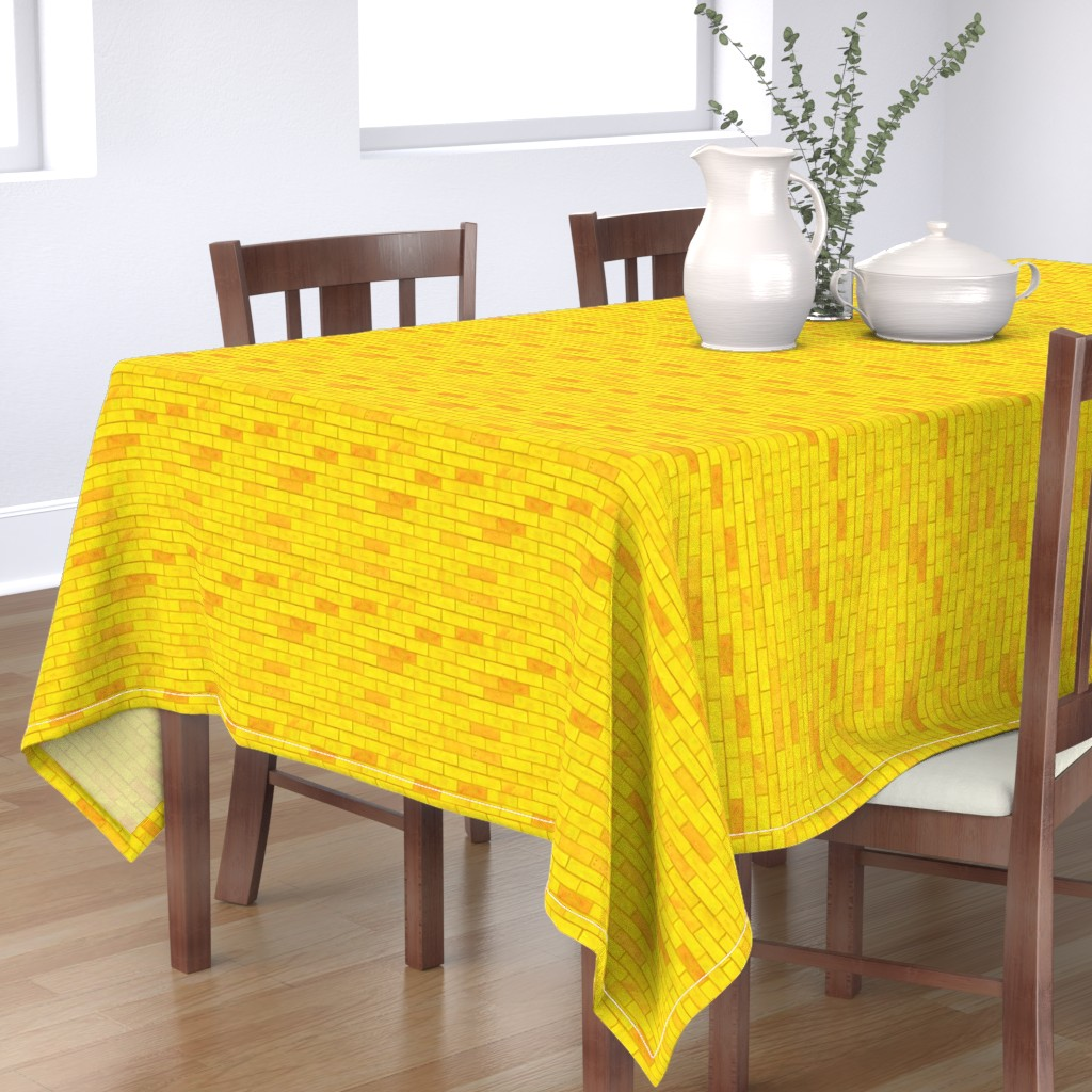 "Bantam Rectangular Tablecloth featuring Wizard of Oz - Yellow Brick Road by JoyfulRose (Each brick is about 1.7"" wide x .6"" tall) by joyfulrose"