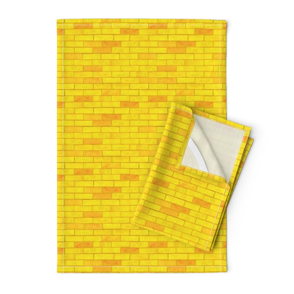 "Orpington Tea Towels featuring Wizard of Oz - Yellow Brick Road by JoyfulRose (Each brick is about 1.7"" wide x .6"" tall) by joyfulrose"