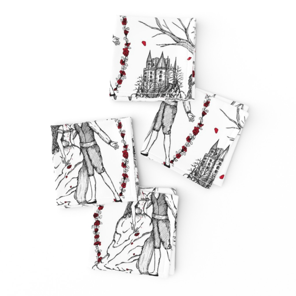 Frizzle Cocktail Napkins featuring Dracula strikes again toile by dinorahaleatelier