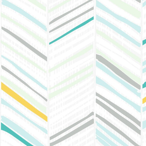 Herringbone Hues of Aqua + Yellow by Friztin