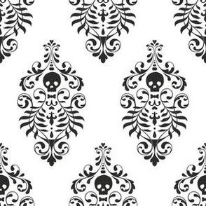 Skull Damask - black on white