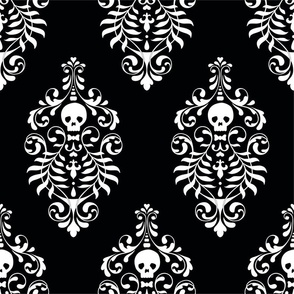 Skull Damask - white on black