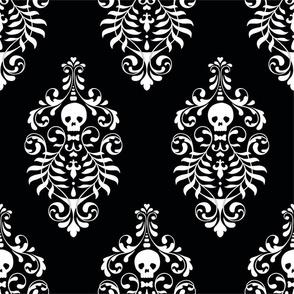 Skull Damask - white on black