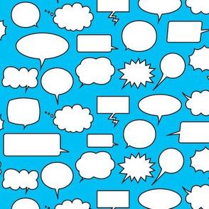 Comic Adventures: Speech Balloons on blue