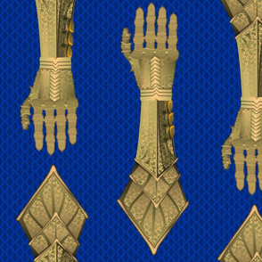 Gauntlets - golden and blue