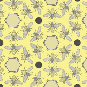 Beneficial Bumblebees & Hexagonal Honeycombs - Lemon