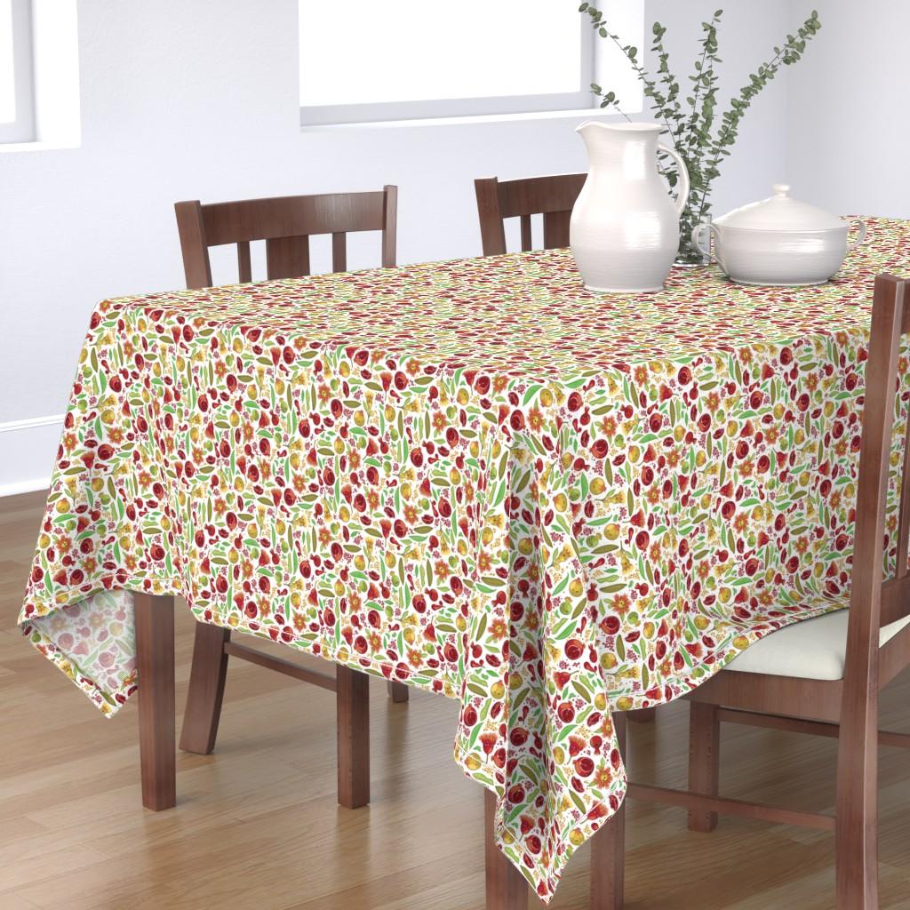 Bantam Rectangular Tablecloth featuring Kawaii Pomegranate Family by fuzzyskyfabric