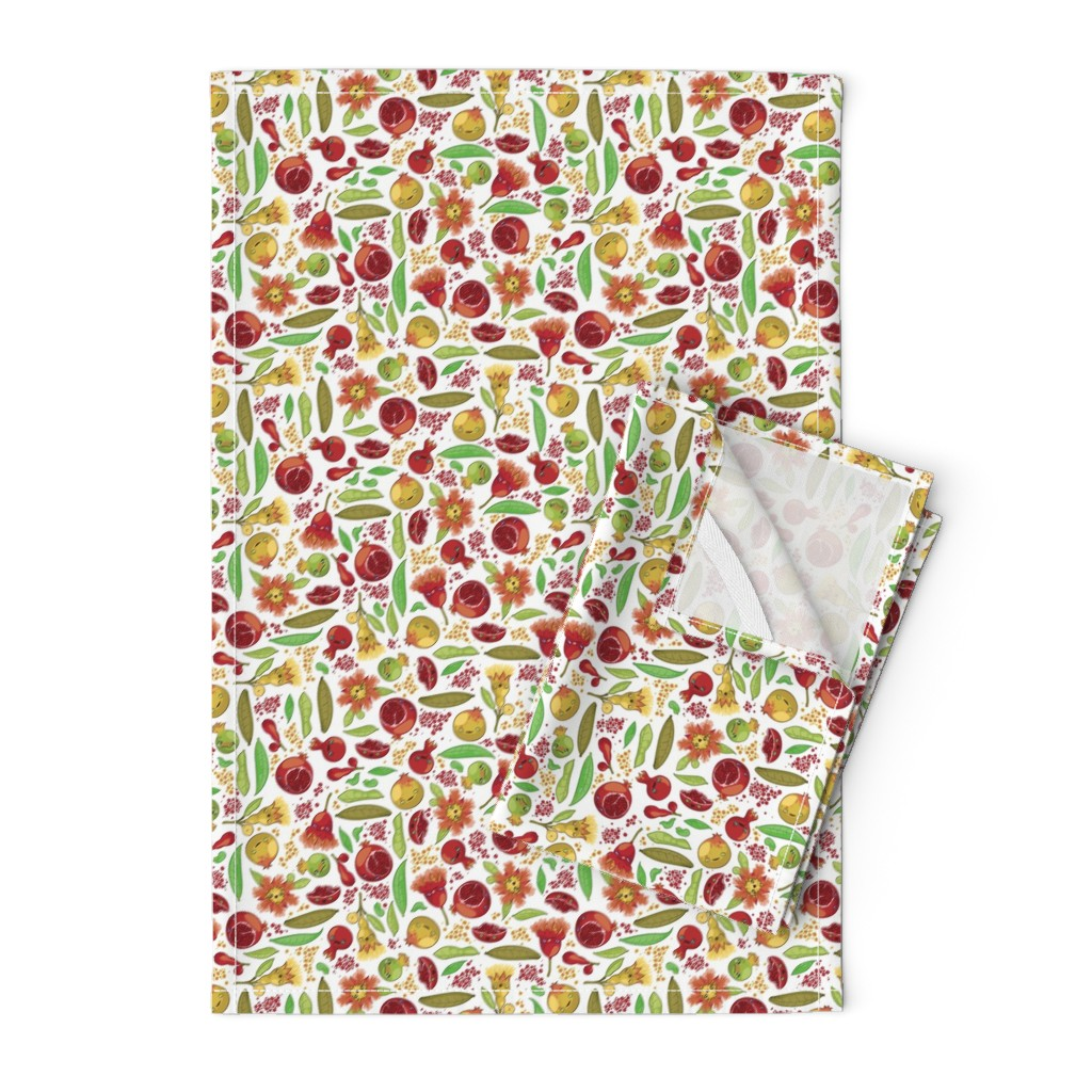 Orpington Tea Towels featuring Kawaii Pomegranate Family by fuzzyskyfabric