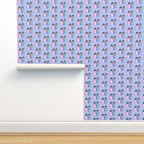 Wallpaper Its A Girl Its A Boy Dolls With Dots Nursery Fabric Revised
