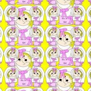 It's A Girl! Pincushion Favor Fabric