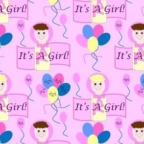 It's A Girl! Bunting Pair With Balloons Fabric