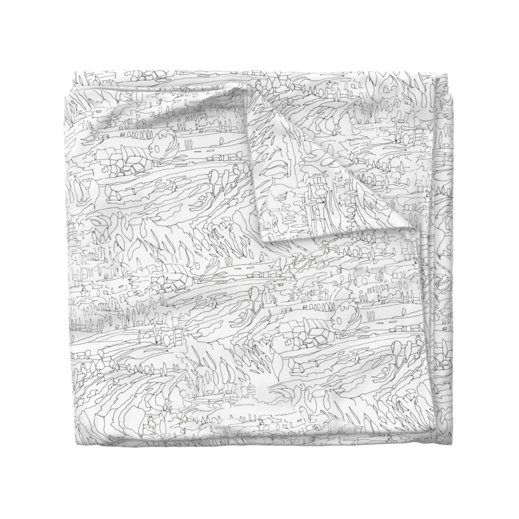 Wyandotte Duvet Cover featuring Black & White Landscape by dorothyfaganartist
