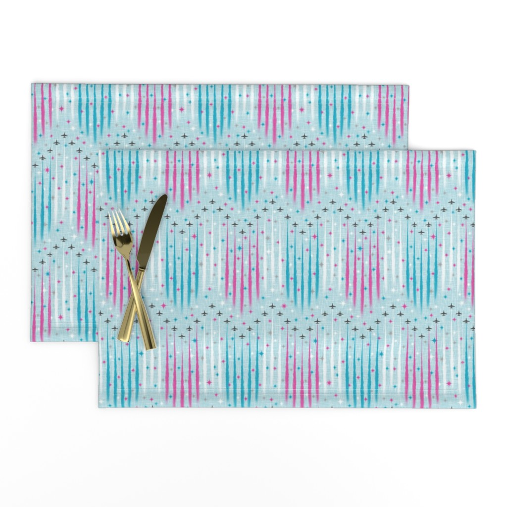 Lamona Cloth Placemats featuring Jubilee Flyover - Red Arrows by inscribed_here