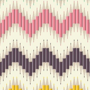 Rainbow Pencil Chevron Stripe