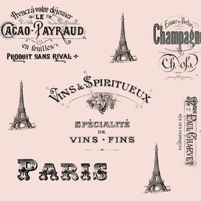 Paris Labels Collage Pink