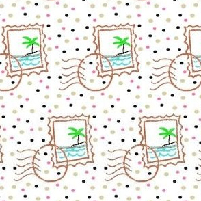Adventure Is Out There! Tropical Island Postage Stamp